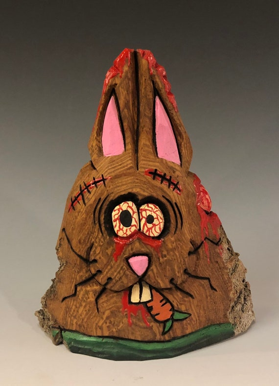 "HAND CARVED original 5"" tall Zombie Bunny w/ a carrot from 100 year old Cottonwood Bark."
