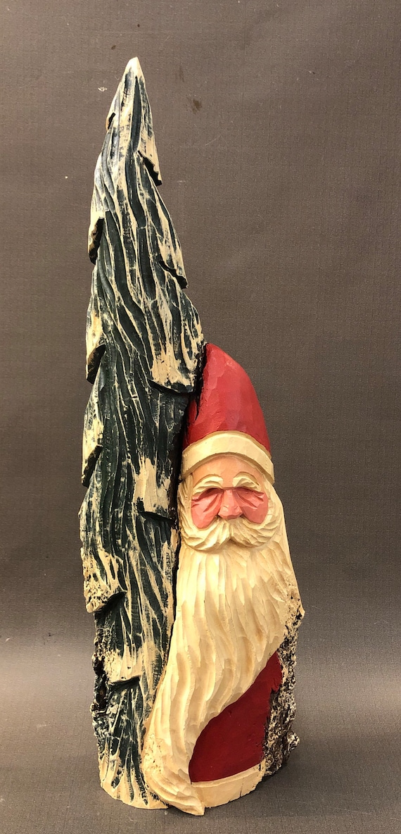 "HAND carved original 16"" tall Santa with tree from 100 year old Cottonwood Bark."