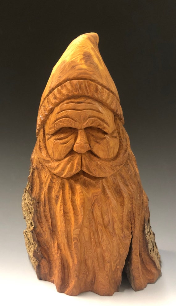 "HAND carved original 8.5"" tall Santa bust with natural finish from 100 year old Cottonwood Bark."