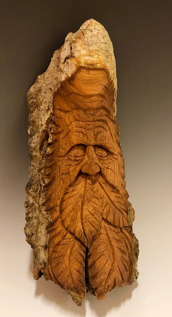 "HAND CARVED original 11"" long Tree Spirit w/leaves from 100 year old Cottonwood Bark"