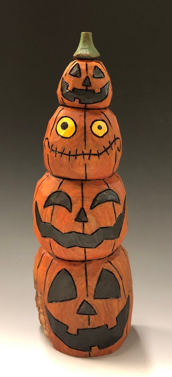 "HAND CARVED original 9.5"" tall Jack-O-Lantern stack from 100 year old Cottonwood Bark"