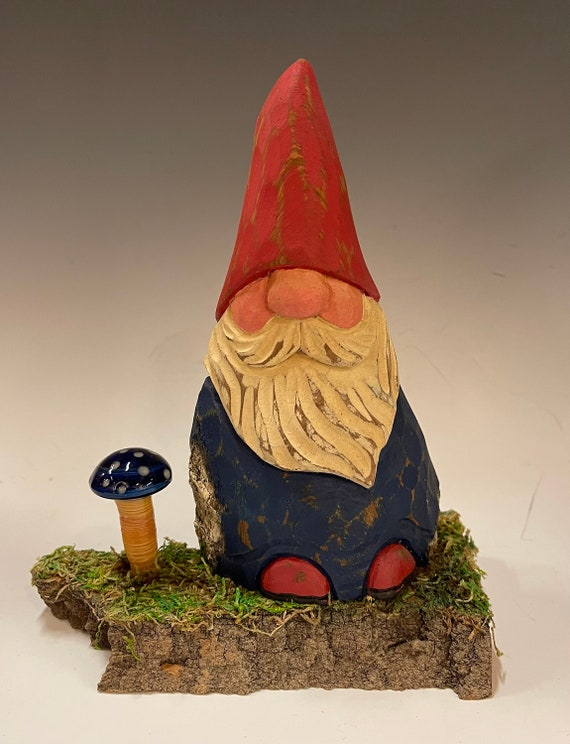 """HAND carved 8"""" tall Gnome with hand blown blue glass mushroom from 100 year old Cottonwood Bark."""