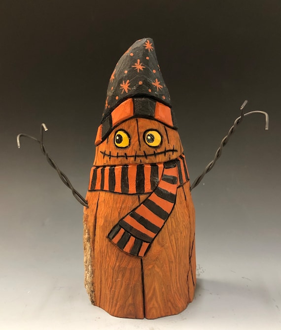 """HAND CARVED original 6.5"""" tall Jack-O-Lantern """"snowman"""" from 100 year old Cottonwood Bark"""