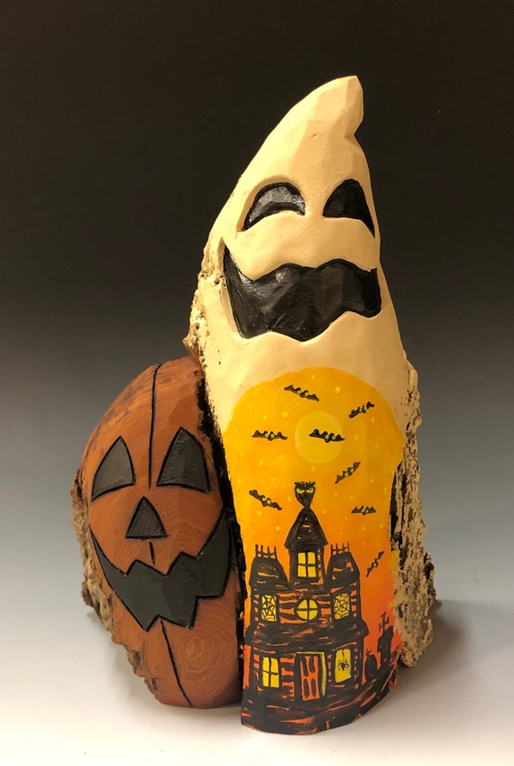 "HAND CARVED original 7.5"" tall Halloween ghost with JOL & painted scene from 100 year old Cottonwood Bark"