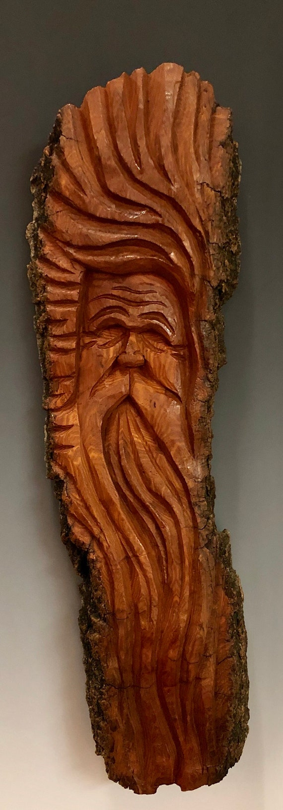 HAND CARVED original Tree Spirit from 100 year old Cottonwood Bark