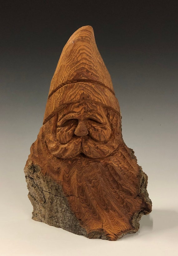 "HAND carved original 7.5"" tall rustic Santa with natural finish from 100 year old Cottonwood Bark."