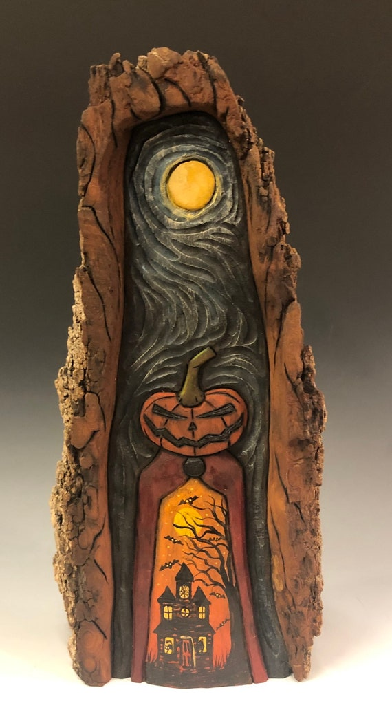 HAND CARVED original grotto style Halloween Jack-O-Lantern man from 100 year old Cottonwood Bark