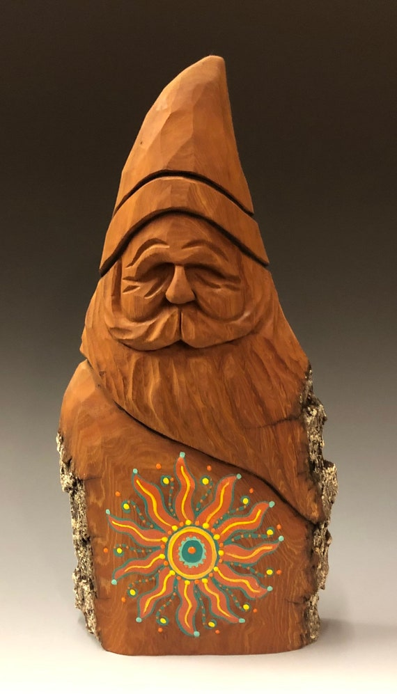 "HAND carved original 10"" tall Southwest Sun Santa with oil stains from 100 year old Cottonwood Bark."
