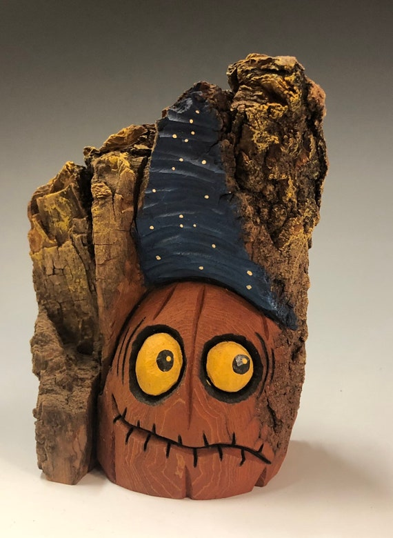 HAND CARVED original jack-o-lantern from 100 year old Cottonwood Bark