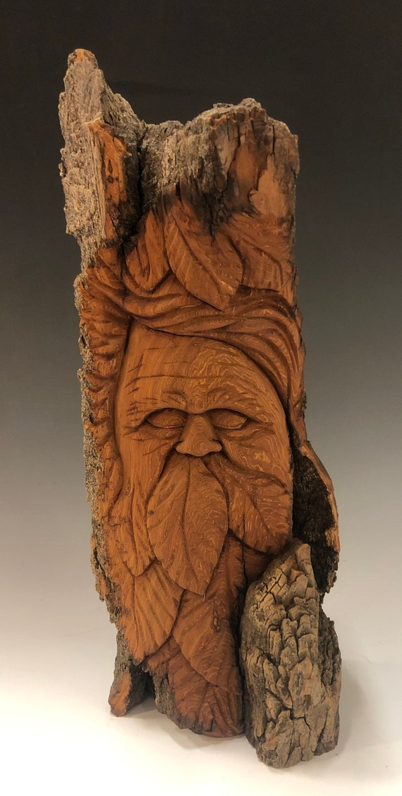 "HAND CARVED original 13.5"" tall standing Wood Spirit  from 100 year old Cottonwood Bark"