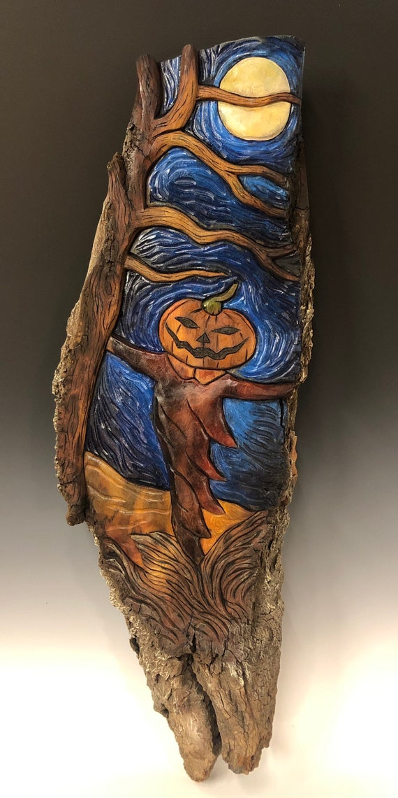 HAND CARVED original large Halloween relief carved wall hanging from 100 year old Cottonwood Bark