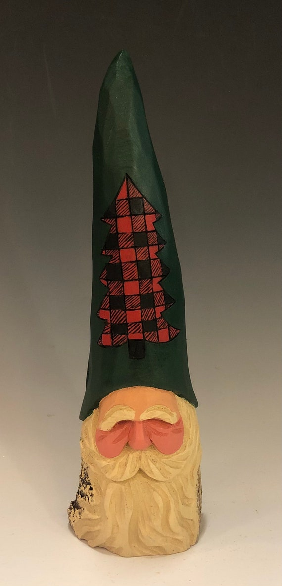"HAND carved 9"" tall tree hat Santa bust from 100 year old Cottonwood Bark."