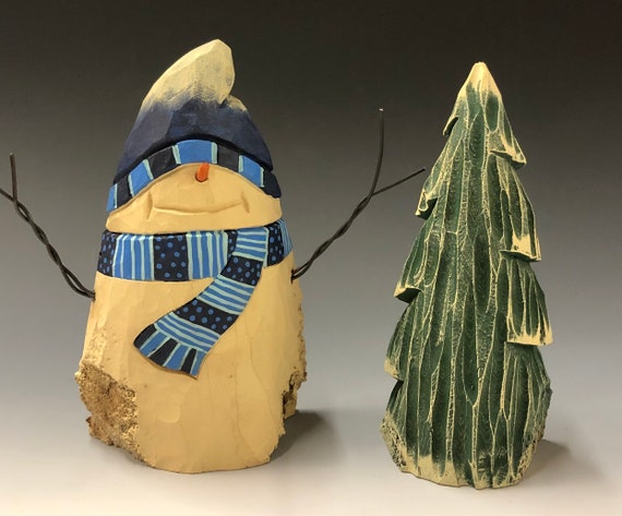 HAND carved original Snowman & tree set from 100 year old Cottonwood Bark.