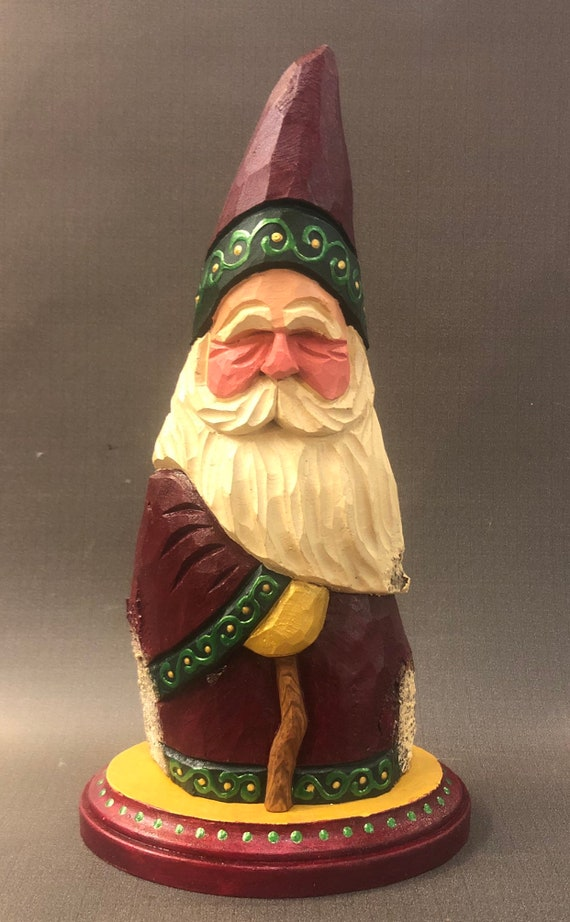 "HAND carved original 10"" tall Santa with cane from 100 year old Cottonwood Bark."