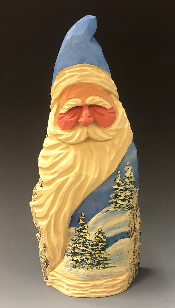 """HAND carved original 10"""" tall Santa w/ painted trees from 100 year old Cottonwood Bark."""