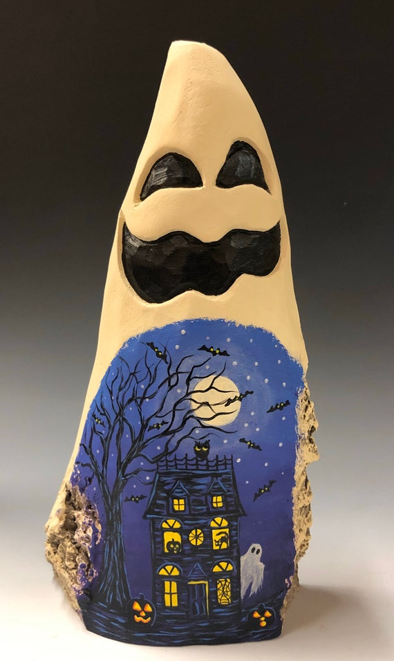 "HAND CARVED original 9"" tall Halloween ghost with painted scene from 100 year old Cottonwood Bark"