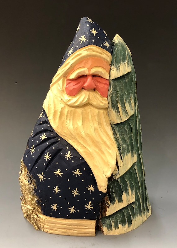 """HAND carved original 8"""" tall Santa w/ tree from 100 year old Cottonwood Bark."""