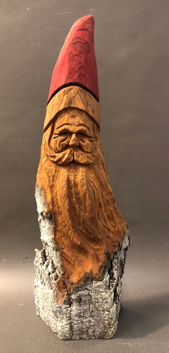 "HAND carved original 13"" tall rustic Santa bust with oil stains from 100 year old Cottonwood Bark."