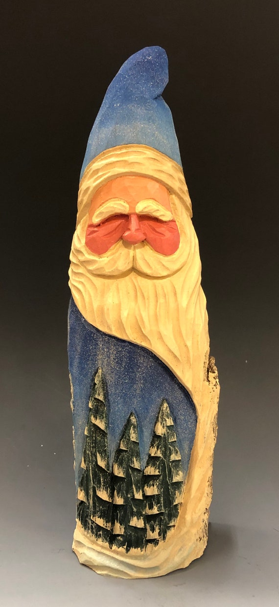 "HAND carved original 10"" tall Santa w/ carved trees from 100 year old Cottonwood Bark."