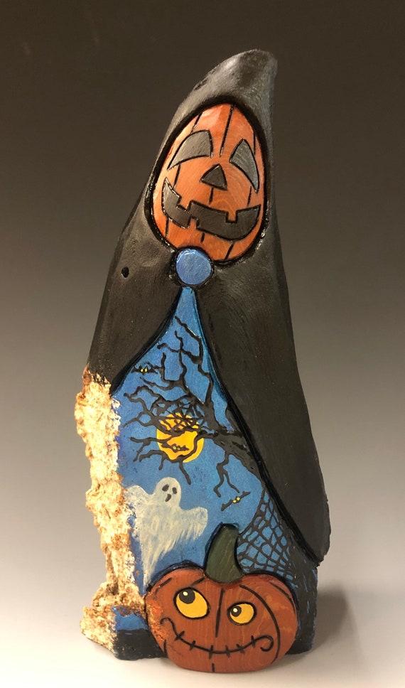 "HAND CARVED original 8.5"" tall Halloween Jack-O-Lantern man w/ pumpkin from 100 year old Cottonwood Bark"