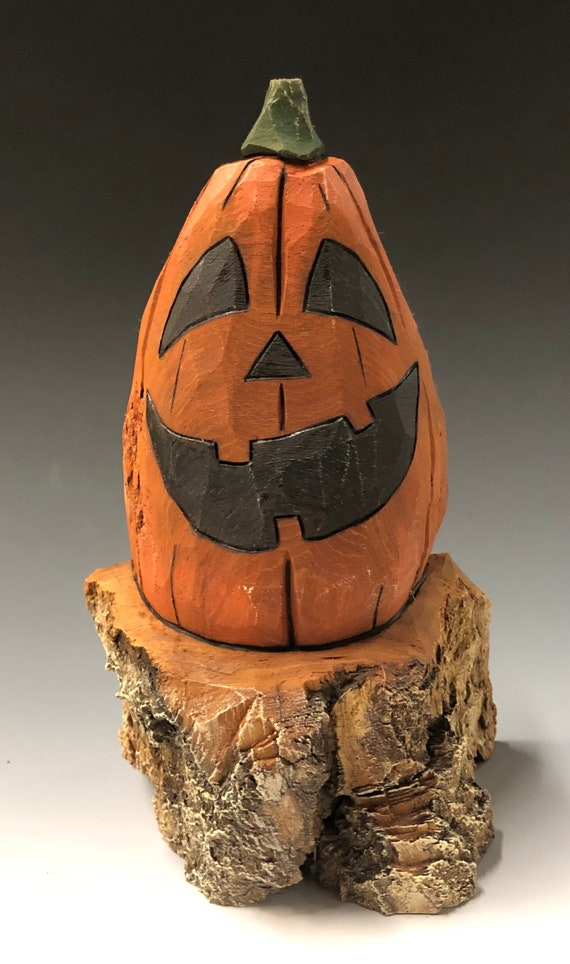 "HAND CARVED original 7.5"" tall jack o lantern on a stump from 100 year old Cottonwood Bark"