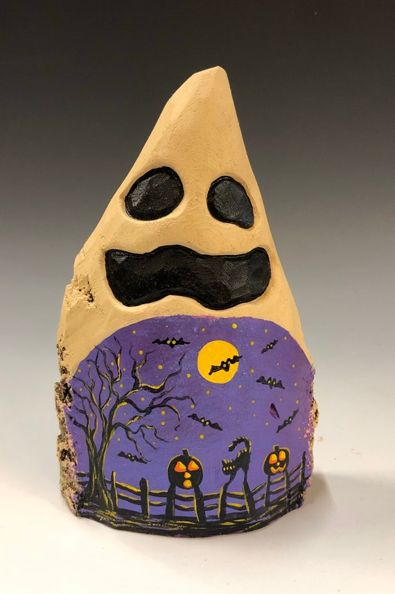 HAND CARVED original  Halloween ghost with painted scene from 100 year old Cottonwood Bark