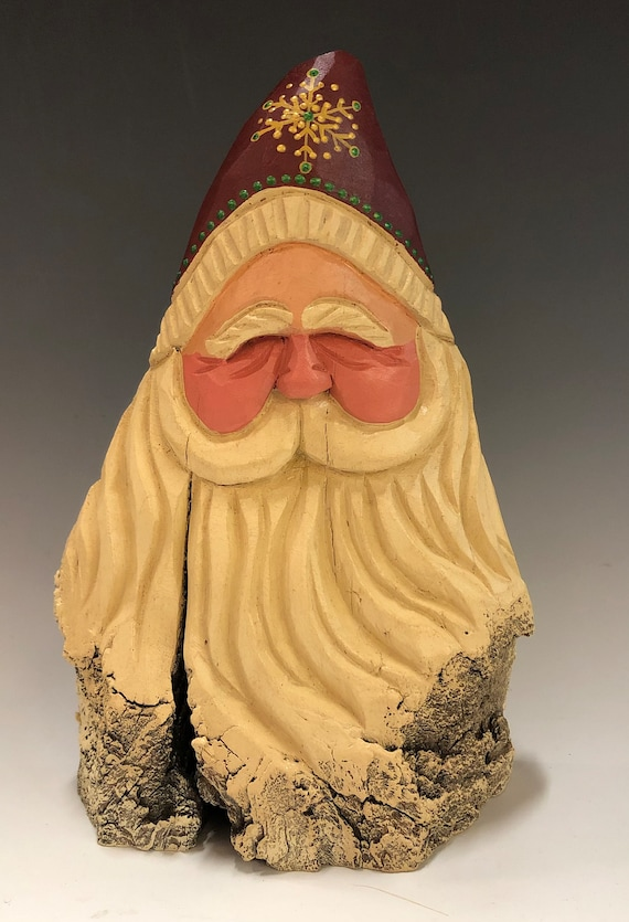 "HAND carved 8.5"" tall Santa bust from 100 year old Cottonwood Bark."