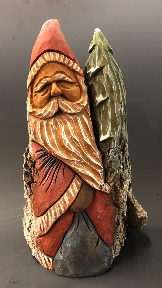 """HAND carved original 10"""" tall rustic Santa and tree from 100 year old Cottonwood Bark."""