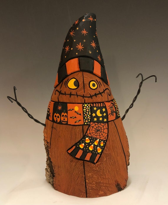 "HAND CARVED original 8.5"" tall Halloween Jack-O-Lantern ""snowman"" from 100 year old Cottonwood Bark"