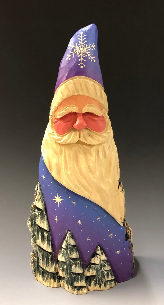 "HAND carved 10"" tall purple Santa w/ trees from 100 year old Cottonwood Bark."