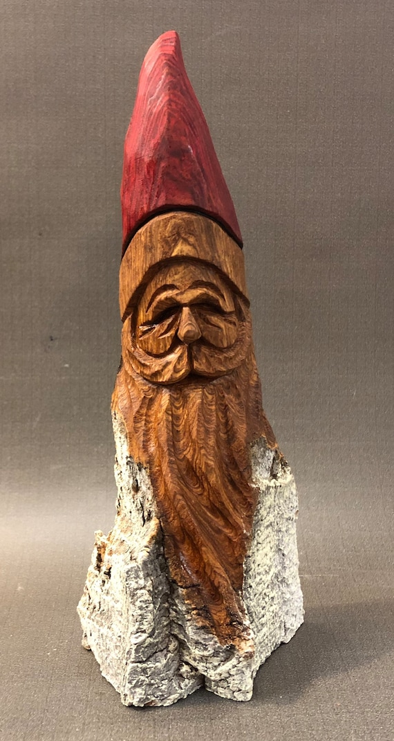 """HAND carved original 9.5"""" tall rustic Santa bust with oil stains from 100 year old Cottonwood Bark."""