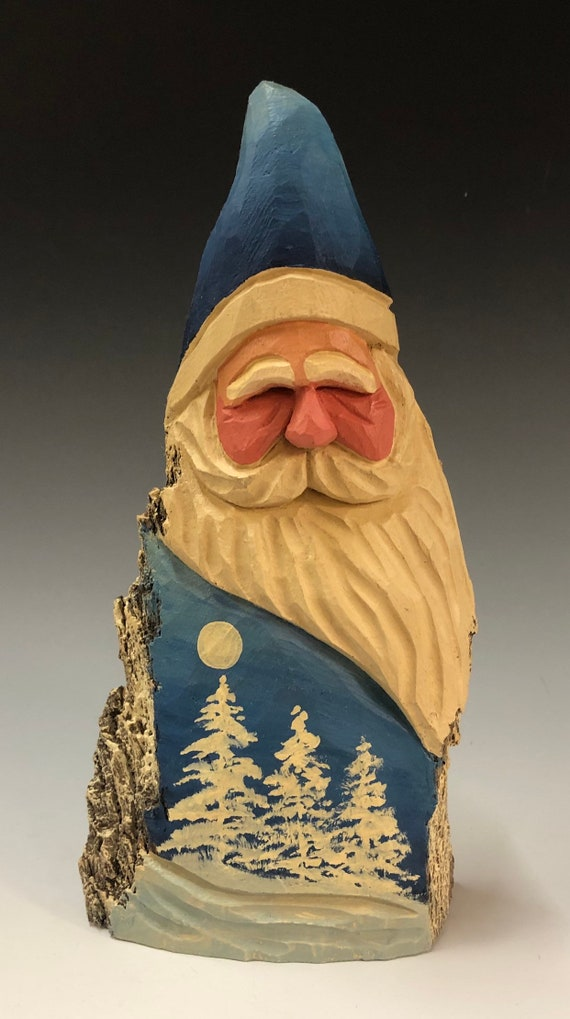 "HAND carved original 8.5"" tall Santa with white trees from 100 year old Cottonwood Bark."