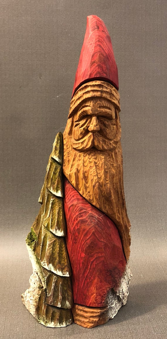HAND carved original Santa and tree with oil stains from 100 year old Cottonwood Bark.