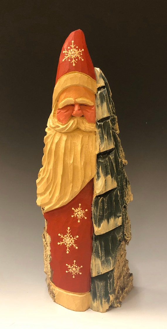 "HAND carved original 10"" tall Santa w/ tree from 100 year old Cottonwood Bark."