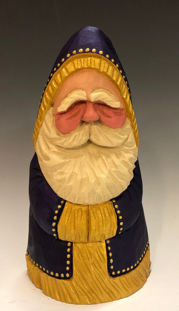 "HAND carved original 7"" tall chubby purple & gold Santa from 100 year old Cottonwood Bark."