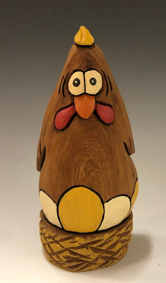 "HAND CARVED original 6"" tall Easter Chicken with eggs from 100 year old Cottonwood Bark."