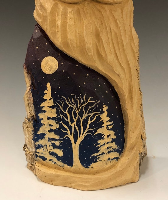 """HAND carved original 9"""" tall Santa w/ white trees from 100 year old Cottonwood Bark."""