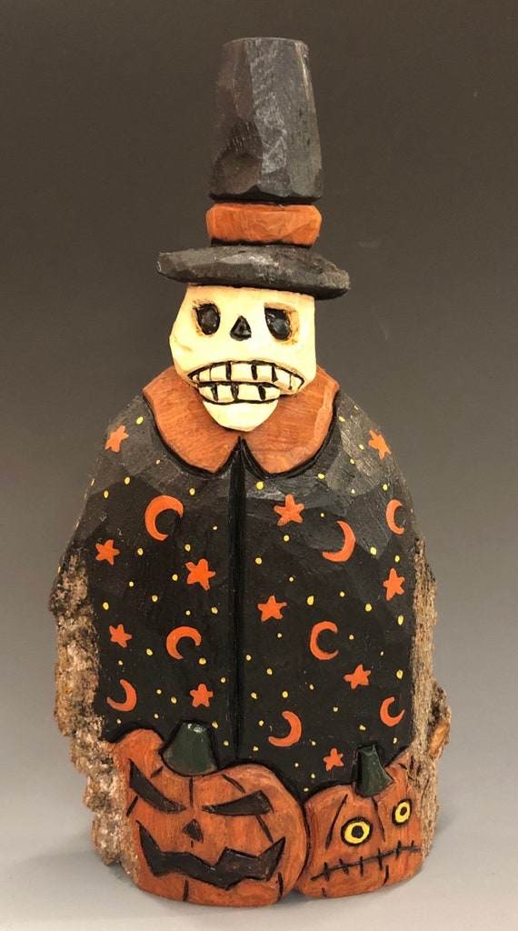 HAND CARVED original Halloween Skelly w/ jack-o-lanterns from 100 year old Cottonwood Bark