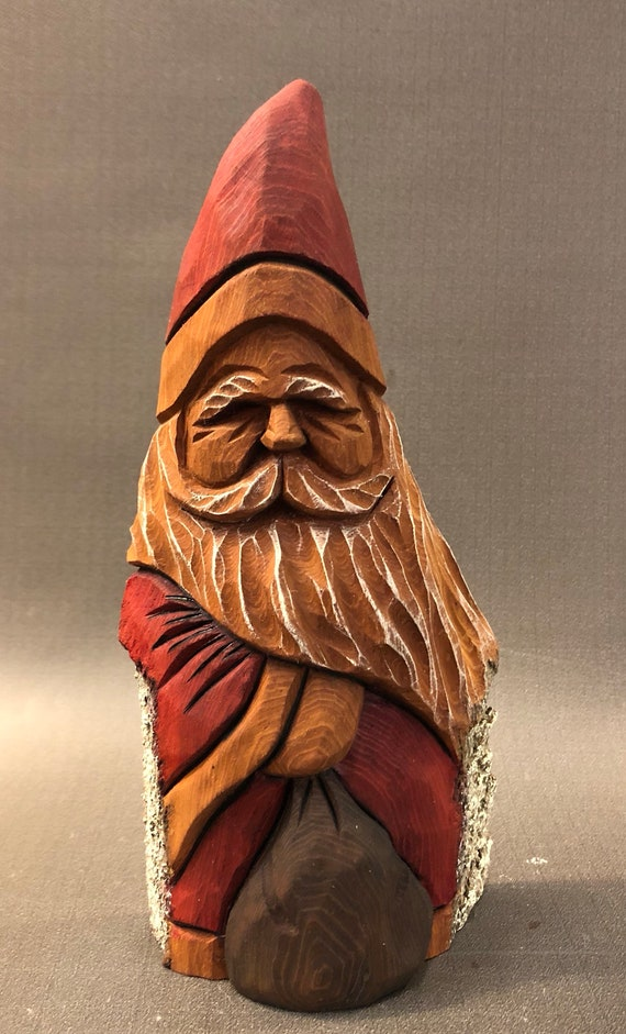 "HAND carved original 7.5"" tall Santa and bag with oil stains from 100 year old Cottonwood Bark."