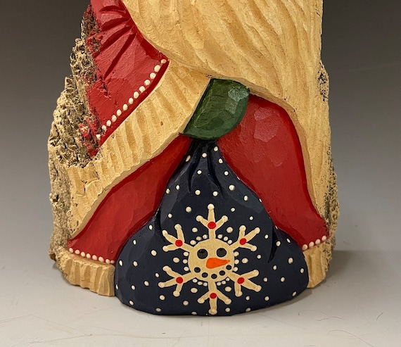 """HAND carved original 10"""" tall Santa w/bag from 100 year old Cottonwood Bark."""