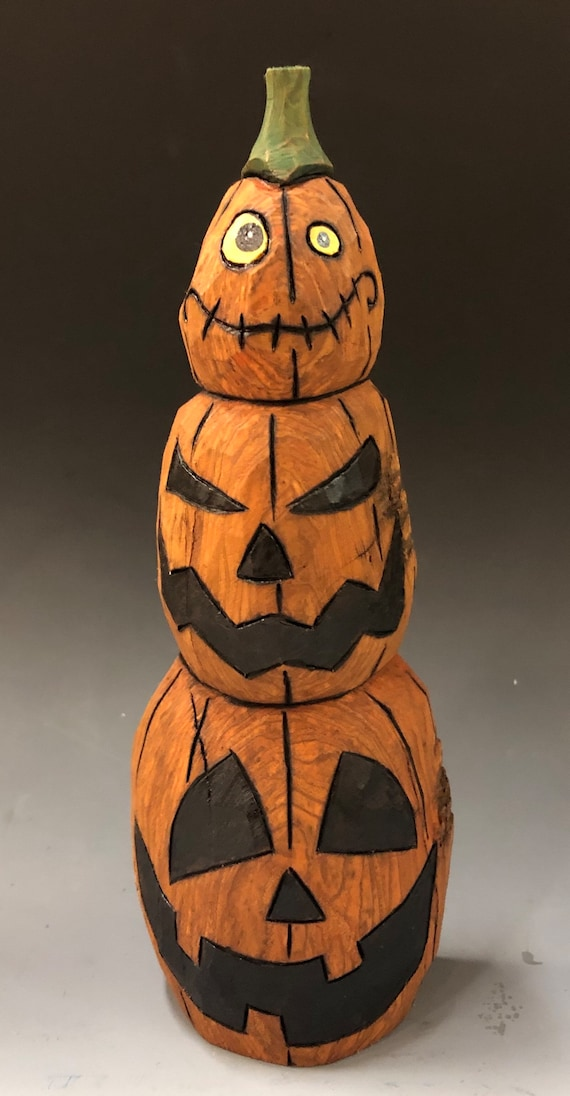 """HAND CARVED original 8"""" tall Jack-O-Lantern stack from 100 year old Cottonwood Bark"""