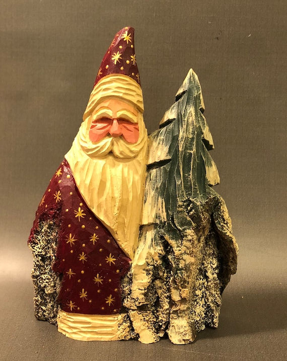 HAND carved original Santa and tree from 100 year old Cottonwood Bark.