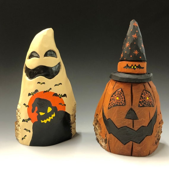 HAND carved original Halloween set from 100 year old Cottonwood Bark.
