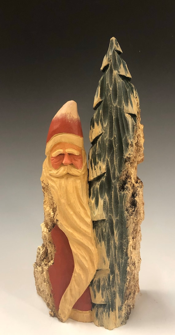 """HAND carved original 10"""" tall Santa w/ tree from 100 year old Cottonwood Bark."""