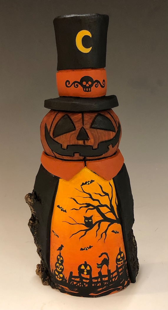 "HAND CARVED original 9"" tall Halloween Jack-O-Lantern man w/ top hat from 100 year old Cottonwood Bark"