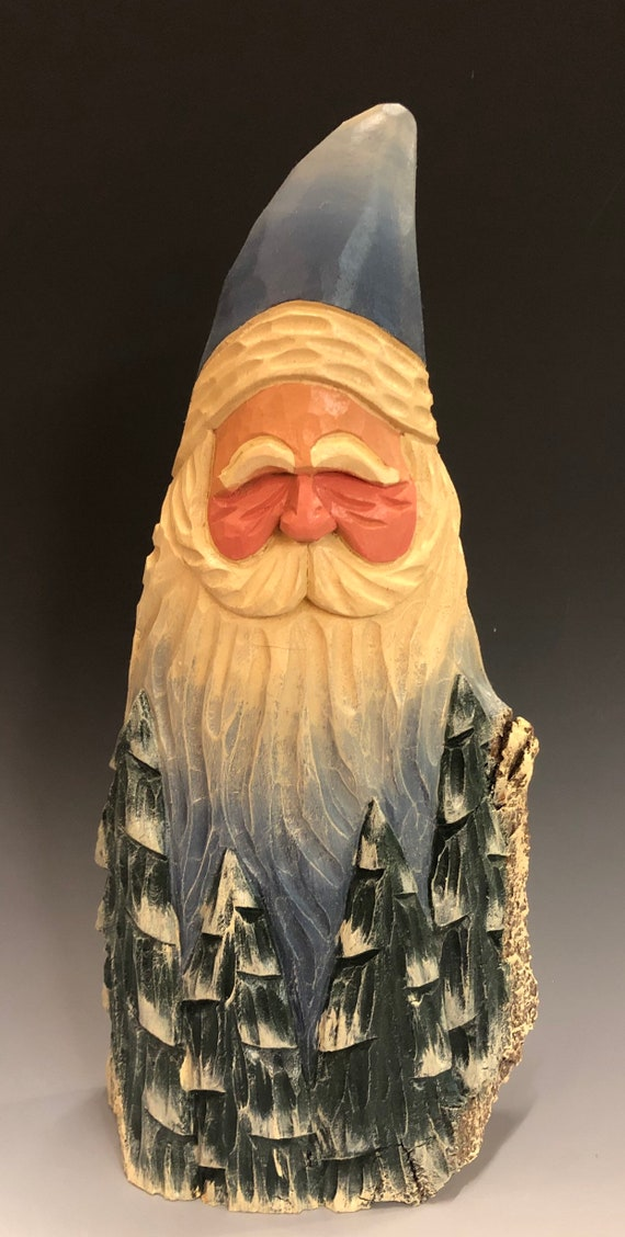 "HAND carved original 12"" tall Santa bust w/ trees from 100 year old Cottonwood Bark."
