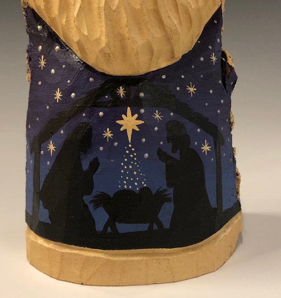 "HAND carved original 9.5"" tall Santa with nativity scene from 100 year old Cottonwood Bark."