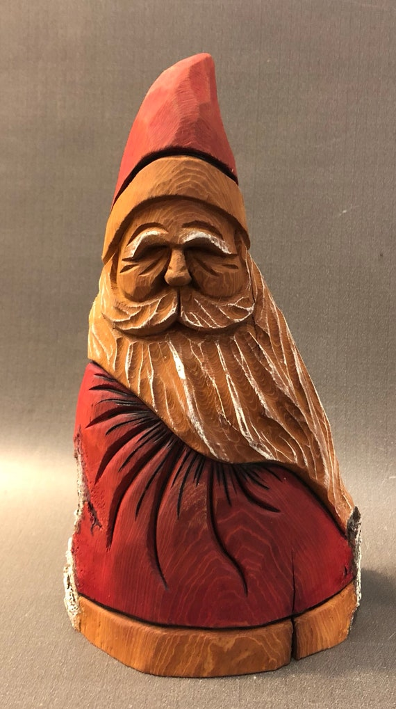 "HAND carved original 8"" tall rustic Santa with oil stains from 100 year old Cottonwood Bark."