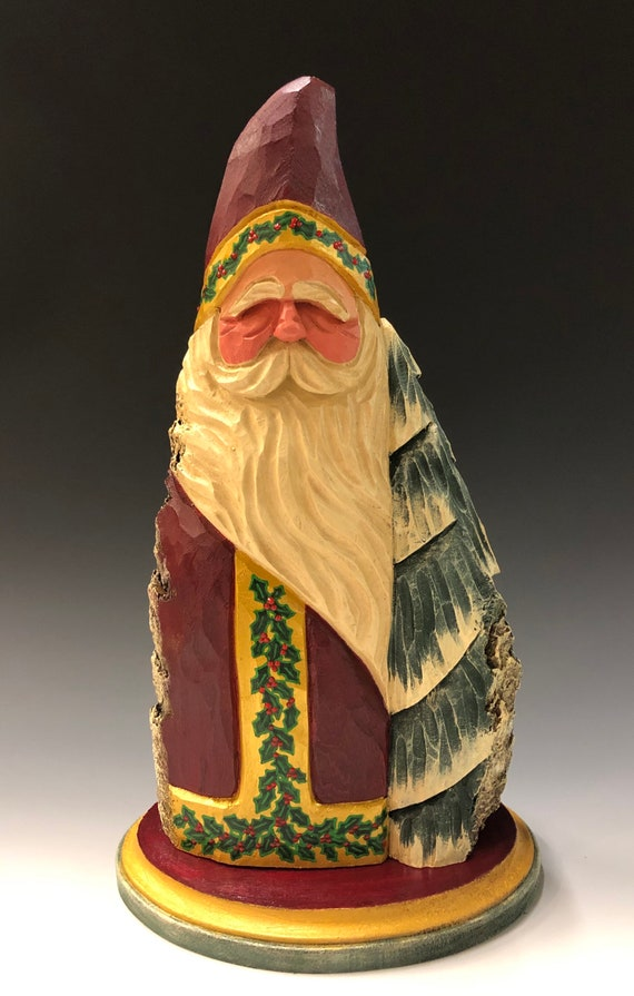 """HAND carved 12.5"""" tall large Santa w/ tree & holly from 100 year old Cottonwood Bark."""