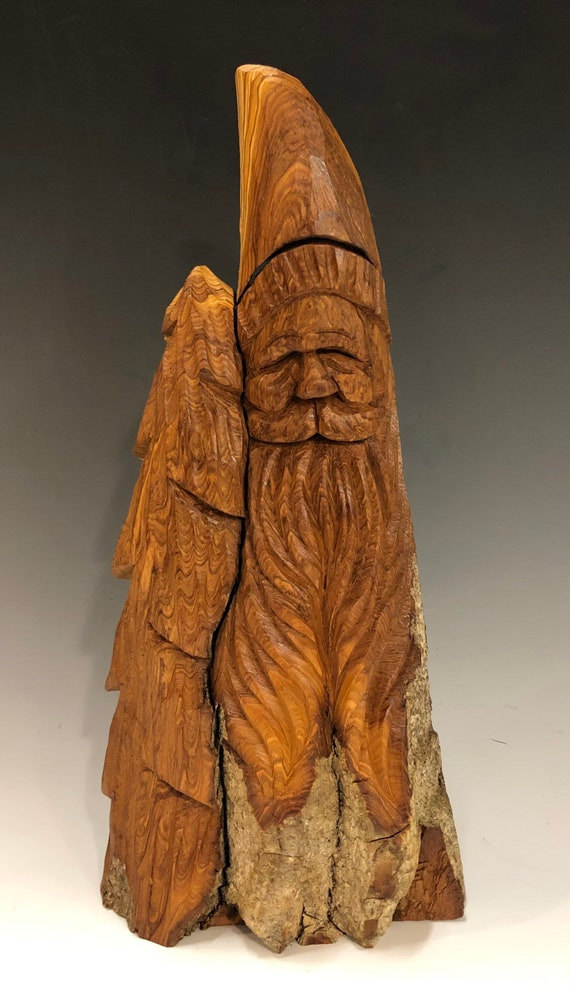 "HAND carved original 12"" tall Santa bust & tree with natural finish from 100 year old Cottonwood Bark."